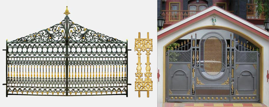 Wall Compound Grill Design : Royal entry gate stair railing balcony grills compound